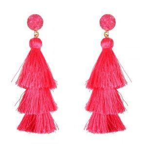 Barbie pink druzy tassel earrings